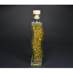 Goldöl, 200 ml mit fraktioniertem Kokosöl in der Glasflasche Welle